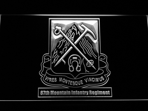 Image of US Army 87th Mountain Infantry Regiment LED Neon Sign - White - SafeSpecial