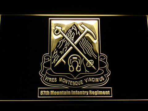 Image of US Army 87th Mountain Infantry Regiment LED Neon Sign - Yellow - SafeSpecial