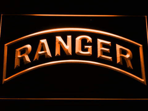 Image of US Army Ranger LED Neon Sign - Orange - SafeSpecial