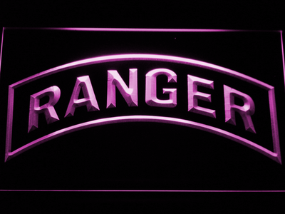 US Army Ranger LED Neon Sign - Purple - SafeSpecial
