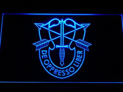 US Army Special Forces De Oppreso Liber LED Neon Sign - Blue - SafeSpecial