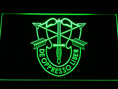 Image of US Army Special Forces De Oppreso Liber LED Neon Sign - Green - SafeSpecial