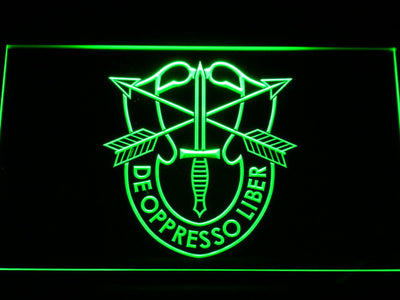 US Army Special Forces De Oppreso Liber LED Neon Sign - Green - SafeSpecial