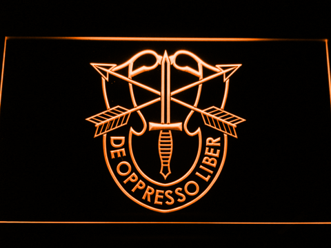 Image of US Army Special Forces De Oppreso Liber LED Neon Sign - Orange - SafeSpecial