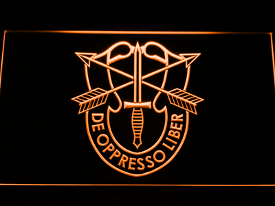 US Army Special Forces De Oppreso Liber LED Neon Sign - Orange - SafeSpecial