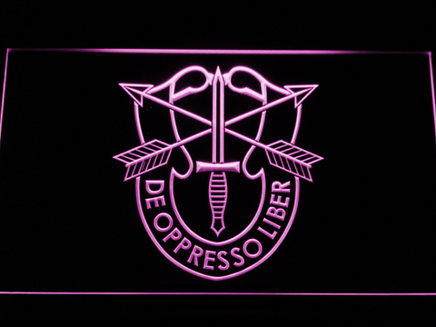 Image of US Army Special Forces De Oppreso Liber LED Neon Sign - Purple - SafeSpecial