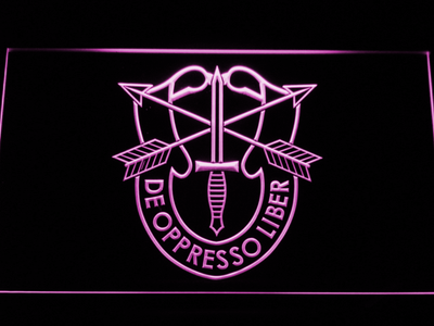 US Army Special Forces De Oppreso Liber LED Neon Sign - Purple - SafeSpecial