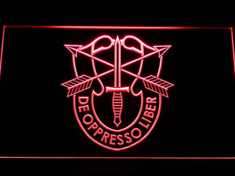 Image of US Army Special Forces De Oppreso Liber LED Neon Sign - Red - SafeSpecial