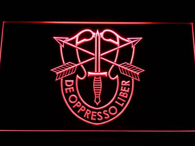 US Army Special Forces De Oppreso Liber LED Neon Sign - Red - SafeSpecial