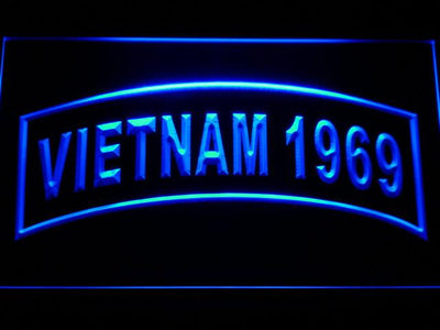 US Army Vietnam 1969 LED Neon Sign - Blue - SafeSpecial