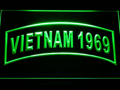 US Army Vietnam 1969 LED Neon Sign - Green - SafeSpecial