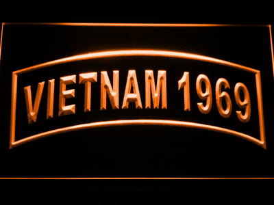 US Army Vietnam 1969 LED Neon Sign - Orange - SafeSpecial