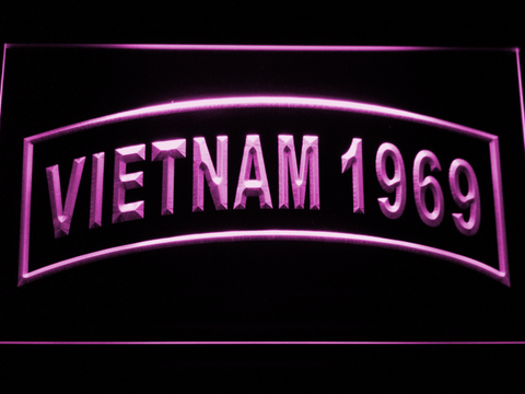 Image of US Army Vietnam 1969 LED Neon Sign - Purple - SafeSpecial