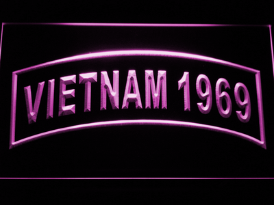 US Army Vietnam 1969 LED Neon Sign - Purple - SafeSpecial