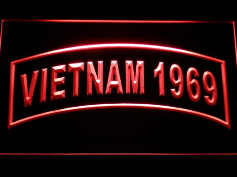 Image of US Army Vietnam 1969 LED Neon Sign - Red - SafeSpecial