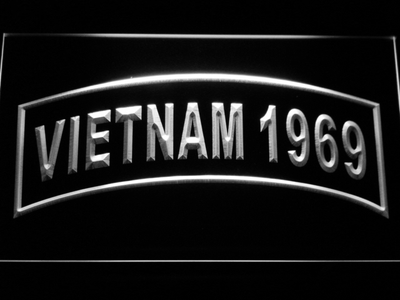 US Army Vietnam 1969 LED Neon Sign - White - SafeSpecial