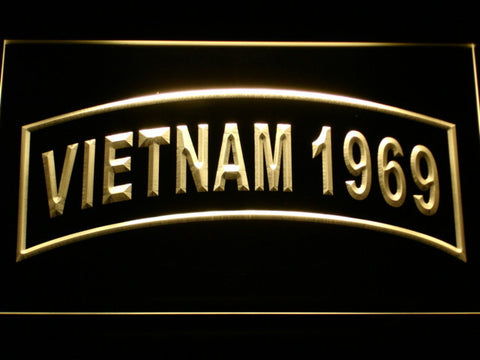 Image of US Army Vietnam 1969 LED Neon Sign - Yellow - SafeSpecial