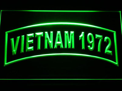 US Army Vietnam 1972 LED Neon Sign - Green - SafeSpecial