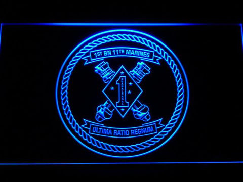 Image of US Marine Corps 1st Battalion 11th Marines LED Neon Sign - Blue - SafeSpecial