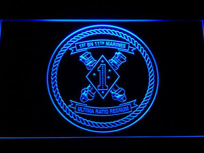 US Marine Corps 1st Battalion 11th Marines LED Neon Sign - Blue - SafeSpecial