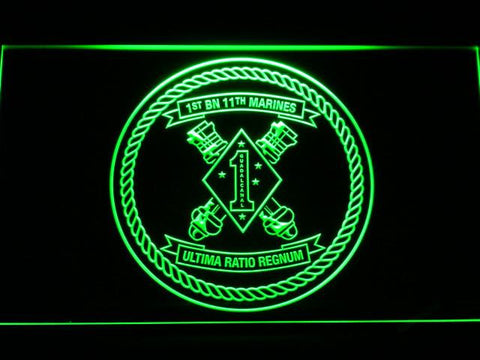 Image of US Marine Corps 1st Battalion 11th Marines LED Neon Sign - Green - SafeSpecial