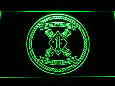 US Marine Corps 1st Battalion 11th Marines LED Neon Sign - Green - SafeSpecial