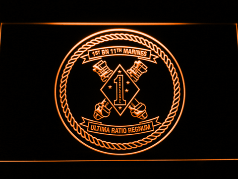 Image of US Marine Corps 1st Battalion 11th Marines LED Neon Sign - Orange - SafeSpecial