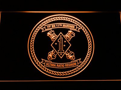 US Marine Corps 1st Battalion 11th Marines LED Neon Sign - Orange - SafeSpecial