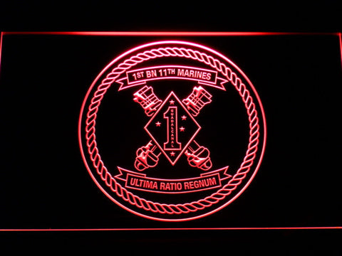 Image of US Marine Corps 1st Battalion 11th Marines LED Neon Sign - Red - SafeSpecial
