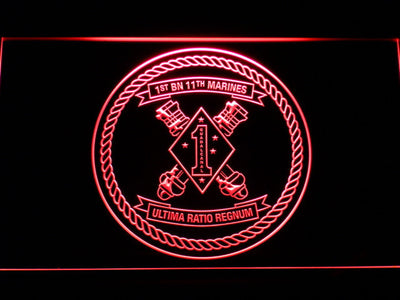 US Marine Corps 1st Battalion 11th Marines LED Neon Sign - Red - SafeSpecial