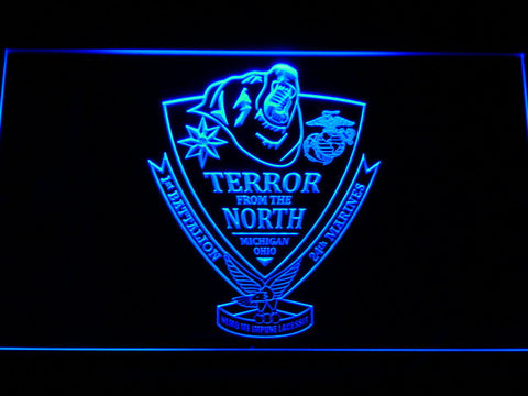 Image of US Marine Corps 1st Battalion 24th Marines LED Neon Sign - Blue - SafeSpecial