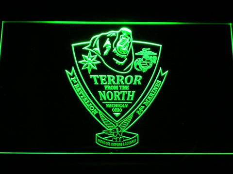 Image of US Marine Corps 1st Battalion 24th Marines LED Neon Sign - Green - SafeSpecial