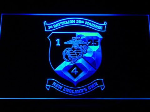 Image of US Marine Corps 1st Battalion 25th Marines LED Neon Sign - Blue - SafeSpecial