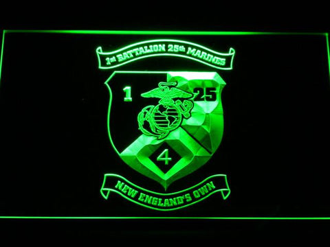 Image of US Marine Corps 1st Battalion 25th Marines LED Neon Sign - Green - SafeSpecial