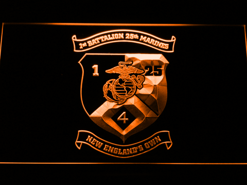 Image of US Marine Corps 1st Battalion 25th Marines LED Neon Sign - Orange - SafeSpecial