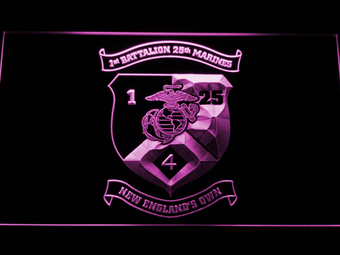 Image of US Marine Corps 1st Battalion 25th Marines LED Neon Sign - Purple - SafeSpecial