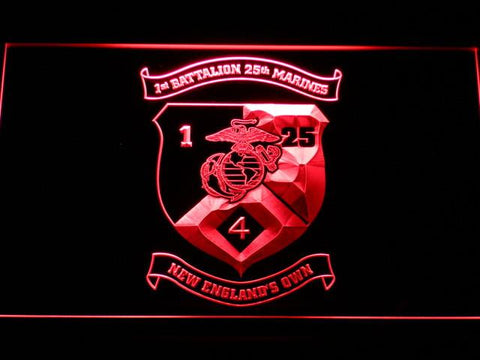 Image of US Marine Corps 1st Battalion 25th Marines LED Neon Sign - Red - SafeSpecial