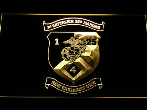Image of US Marine Corps 1st Battalion 25th Marines LED Neon Sign - Yellow - SafeSpecial