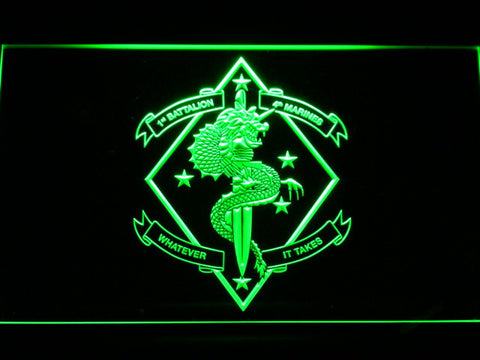 Image of US Marine Corps 1st Battalion 4th Marines LED Neon Sign - Green - SafeSpecial