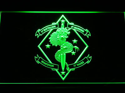 US Marine Corps 1st Battalion 4th Marines LED Neon Sign - Green - SafeSpecial