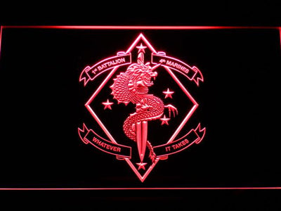 US Marine Corps 1st Battalion 4th Marines LED Neon Sign - Red - SafeSpecial