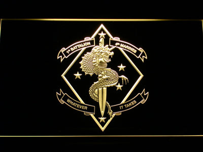 US Marine Corps 1st Battalion 4th Marines LED Neon Sign - Yellow - SafeSpecial