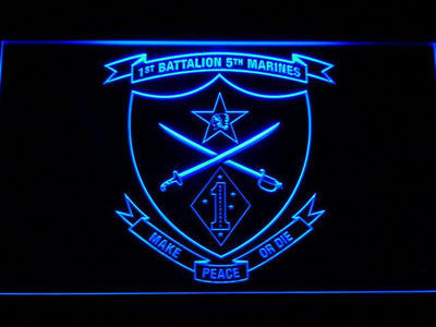 US Marine Corps 1st Battalion 5th Marines LED Neon Sign - Blue - SafeSpecial