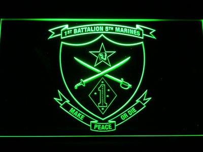 US Marine Corps 1st Battalion 5th Marines LED Neon Sign - Green - SafeSpecial