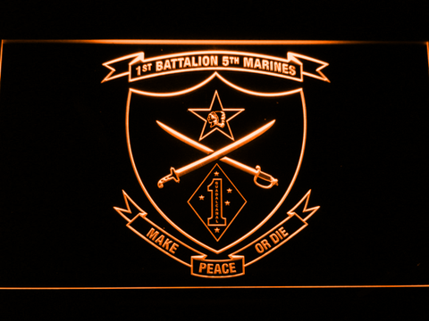 Image of US Marine Corps 1st Battalion 5th Marines LED Neon Sign - Orange - SafeSpecial