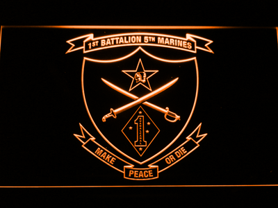 US Marine Corps 1st Battalion 5th Marines LED Neon Sign - Orange - SafeSpecial