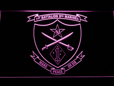 US Marine Corps 1st Battalion 5th Marines LED Neon Sign - Purple - SafeSpecial
