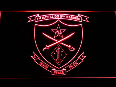 US Marine Corps 1st Battalion 5th Marines LED Neon Sign - Red - SafeSpecial