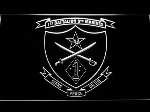 US Marine Corps 1st Battalion 5th Marines LED Neon Sign - White - SafeSpecial