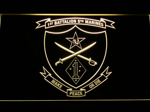 Image of US Marine Corps 1st Battalion 5th Marines LED Neon Sign - Yellow - SafeSpecial
